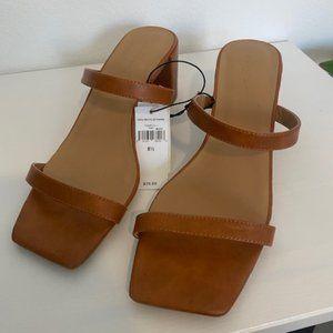 Tan Strap Block Heel Sandals